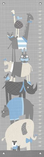 Oopsy Daisy Happy Animal Herd Growth Chart, Gray/Blue, 12'' x 42'' by Oopsy Daisy