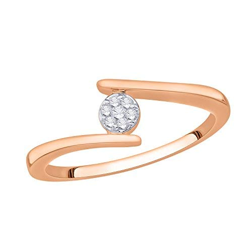 IGI Certified Round Diamond Accent Flower Cluster Bypass Engagement Promise Ring 10K Yellow Gold (0.06 Cttw) ()