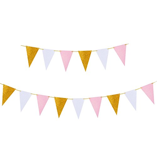 Mtlee 8.6 Feet Glitter Paper Banners Triangle Bunting Flags Pennants Garland for Party Decoration, 15 Flags, Gold, Pink and White (Paper Banners)