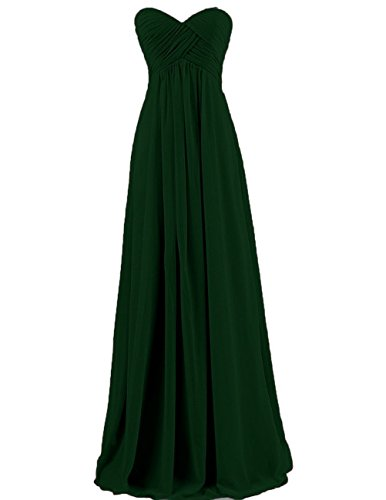 Cdress Women's Chiffon Bridesmaid Dresses Prom Dress Sweetheart Wedding Party Gowns Dark_Green US - Us Australia To Usps