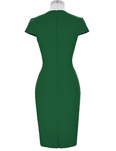 Cap 5 Grace Sleeve Swing Foncé Vert cl8947 Womens Stampa Dress The Party Karin Retro TpxqxF4X