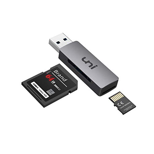 uni SD Card Reader, USB 3.0 to SD/Micro SD Card Adapter 2-in-1, Aluminum USB SD/TF Memory Card Reader for SD, SDXC, SDHC, MMC, RS-MMC, Micro SDXC, Micro SD, Micro SDHC Card and UHS-I Cards