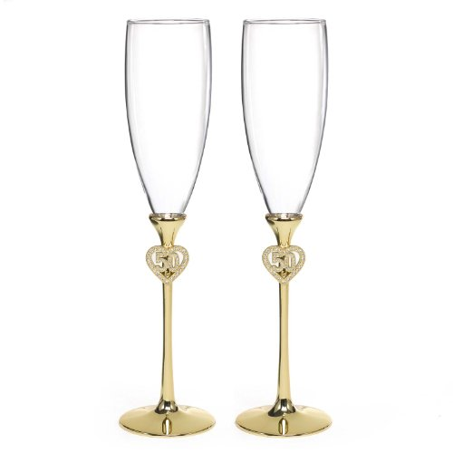 - Hortense B. Hewitt Wedding Accessories Jeweled 50th Anniversary Champagne Flutes, Set of 2