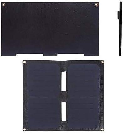 ソーラーパネル ソーラーパネルは、折り畳み式のソーラーパネルは、デュアルUSB 5V / 2A最大とバッグ充電2倍バッグ14W充電します ソーラーチャージャー (Color : Black, Size : 14W)