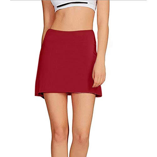 (Women Skirts Women's Casual Pleated Tennis Golf Skirt with Underneath Shorts Running Skorts (Red, XL))
