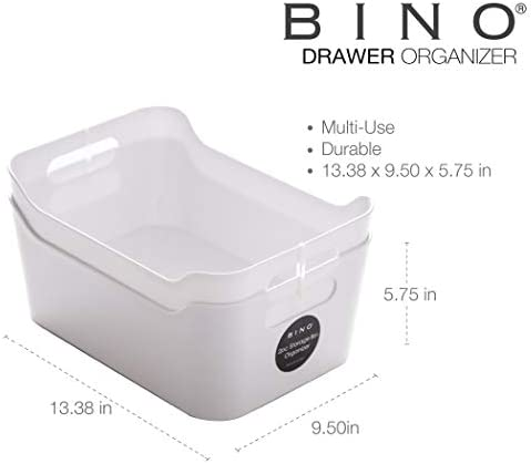 BINO Clear Plastic Storage Bin with Handles (2 Pack - Large) - Plastic Storage Bins for Kitchen, Cabinet, and Pantry Organization and Storage - Home Organizers and Storage - Refrigerator and Freezer