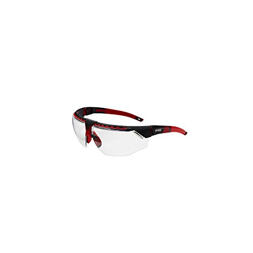 - Uvex S2860HS Avatar Adjustable Safety Glasses with HydroShield Anti-Fog Coating, Standard, Red/Black (1 Pair)