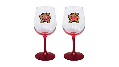University of Maryland Terrapins 12 oz Wine Glass Set of 2 Red Stem Base -