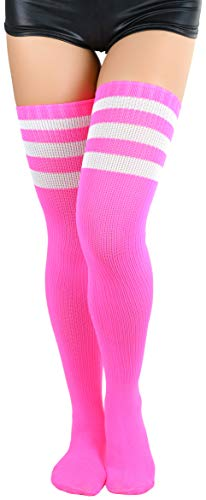 ToBeInStyle Women's Thigh Highs With Three Stripe Top - Neon Pink - -