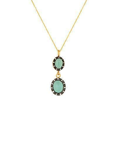 (SIVALYA 18K Gold Over Sterling Silver Necklace with Peruvian Opal and Crystals Pave Pendant - Great Gift for Women)