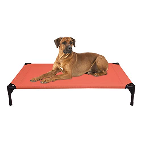 Veehoo Cooling Elevated Dog Bed - Portable Raised Pet Cot with Washable & Breathable Mesh, No-Slip Rubber Feet for Indoor & Outdoor Use, Oversize Package, Large | Orange