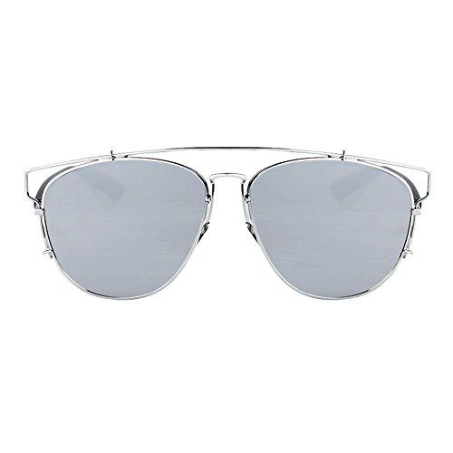 Cordón Sol Hombre Gris para Negros con Color para de Azul de Sunglasses LVZAIXI Mujeres Lentes Unisex Bolsa Aviador de Gafas Completo tw6OP6qR