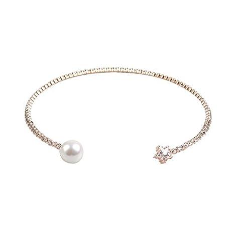 Rhinestone Collar Choker Plated Gold Necklace Oversized Imitation Pearl Moon