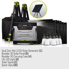 Goal-Zero-Ultimate-Yeti-1250-Solar-Generator-Kit-with-cart-8-Boulder-30-solar-panels-4-panel-carrying-cases-2-Solar-Tripod-holds-4-panels-6-Lighthouse-250s-20-Boulder-Clips-1-8mm-30-Ext-Cable-2-8mm-4x
