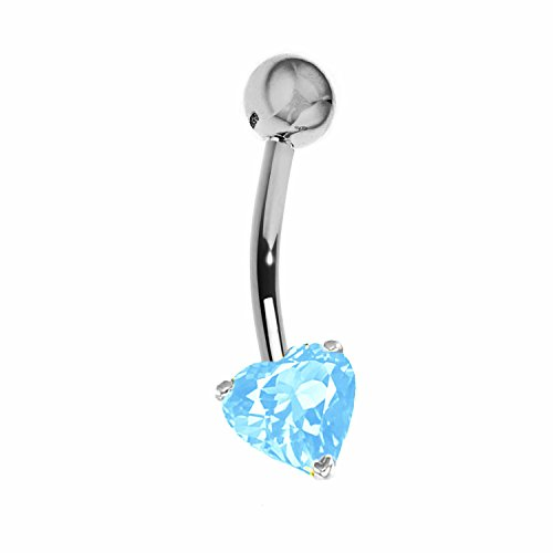 14k Solid White Gold Genuine Blue Topaz Heart Belly Button Navel Ring Body Art (14k White Gold Barbell)