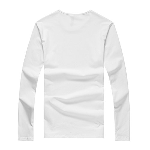 Orangetime Men's Basis Cotton Long Sleeve Cotton T-Shirt White CN L