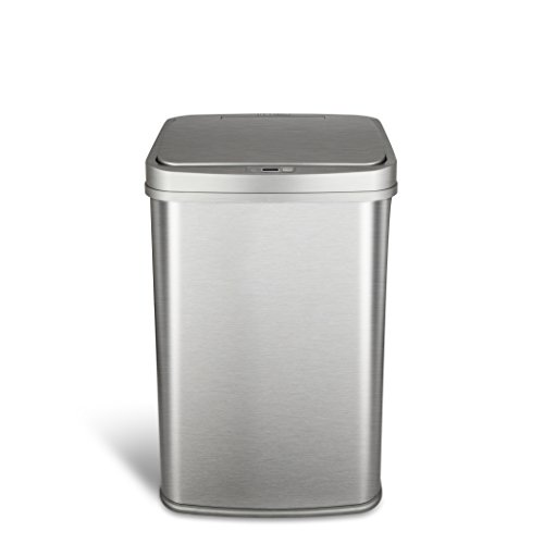 NINESTARS Automatic Touchless Motion Sensor Rectangular Trash Can 13.2 Gallons, 50L, Silver, 13 Gal. 50 L. , Silver Trim
