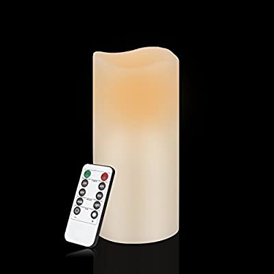"Flameless Candles Battery Operated Candles 3.0""x 6"" Ivory Real Wax Pillar LED Candles with 10-key Remote and Cycling 24 Hours Timer"