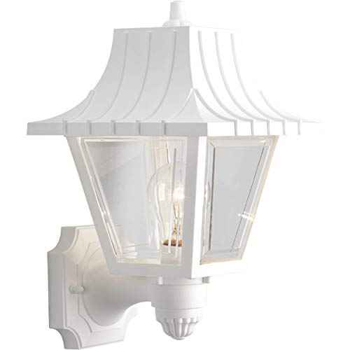 Progress Lighting P5814-30 Wall Lantern with Ribbed Mansard Roof Beveled Clear Acrylic Panels, White