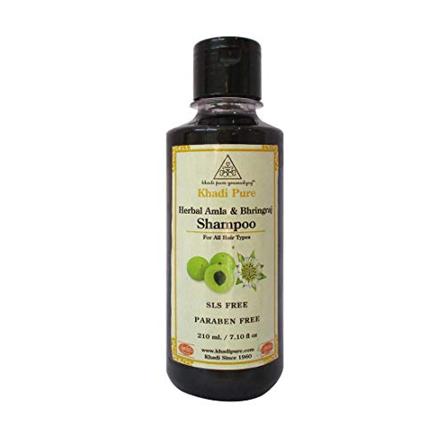 (Khadi Natural Herbal Ayurvedic Amla and Bhringraj Hair Cleanser and Shampoo for all Hair Types SLS and Paraben Free (210 ml))