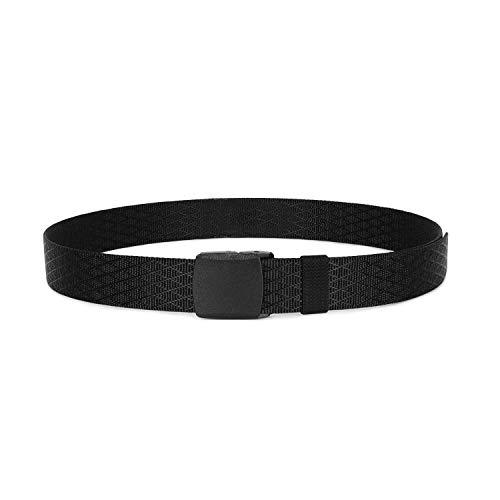 Mens Tactical Nylon Belt, SANSTHS Riggers Nylon Web Belt 1.5 inch No Slipping, Black