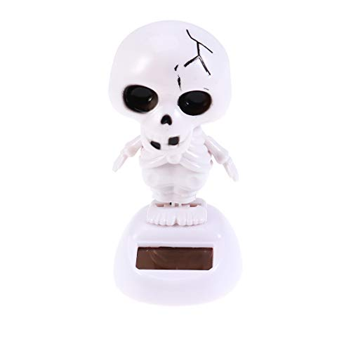 FENICAL Halloween Dashboard Toys Solar Powered Dancing White Skull Skeleton Doll Party Decoration (Dancing Skeleton Toy)