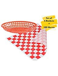 (MM Foodservice Combo Fast Food Baskets and Grease Resistant Deli Paper. Set of 6 Oval Plastic Fast Food Baskets + Set of 100 Sheets 12
