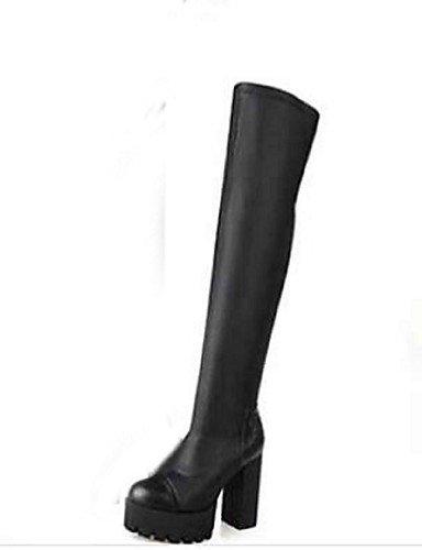 XZZ  Damenschuhe - Stiefel - Lässig - Kunststoff - Blockabsatz - Geschlossene Zehe - Schwarz