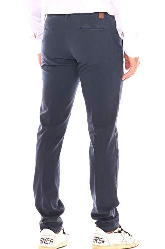 Pantalone Fantasia Chino Blu In Micro Scuro Cotone Uomo Stretch rdr71xwY
