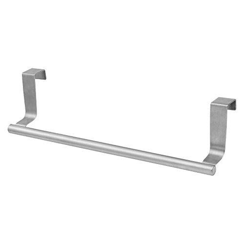 Kitchen Towel Bar | Heavy Duty Stainless Steel 14' Over the Cabinet Dish Towel Holder with 22 Lbs Maximum Load | Non-Absorbent Foam for Effortless Installation on Any Bathroom and Kitchen | Silver