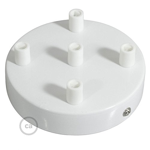 Creative Cables White 4.7'' 5 Hole Ceiling Rose kit with Cylindrical White Plastic Cable Retainer.