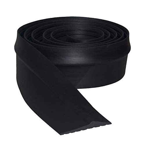 Garage Door Bottom Threshold Seal Strip Universal Weatherproof Floor Buffer Rubber DIY Weather Stripping Replacement, Not Include Sealant/Adhesive (20Ft, Black)