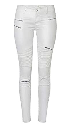 Jeans Faux Leather Low Waisted Stretch Slim Fit Moto Pencil Denim Pants White X-Small