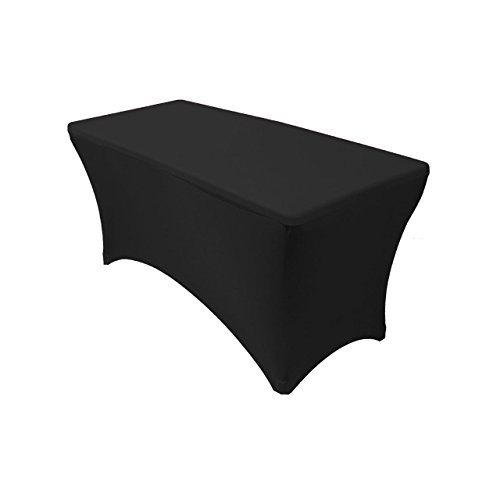 Your Chair Covers 4' Rectangular Fitted Stretch Spandex Table Cover, Black