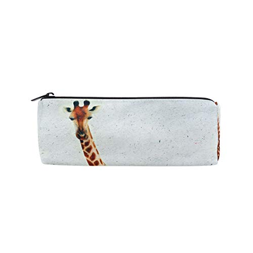 IMOBABY Giraffe Peek Boo Cylinder Pencil Case Zipper Pen Bag Multi-Functional Stationery Pouch Travel Makeup Bag