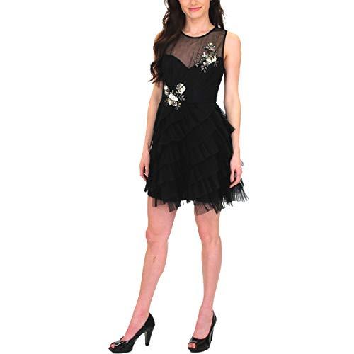 BCBG Max Azria Womens Sleeveless Embellished Ruffled Mini Dress Black Size 0