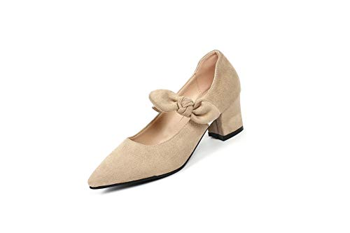 Beige Bows Nubuck BalaMasa Urethane Womens Solid Pumps APL10625 Shoes wqO7Bt87Wg