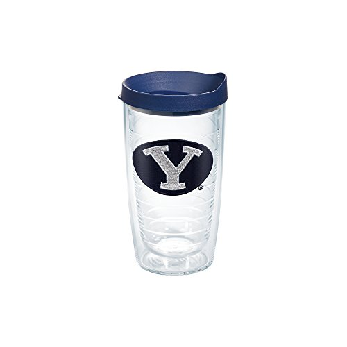 Tervis 1078969 Brigham Young University Emblem Individual Tumbler with Navy lid, 16 oz, Clear