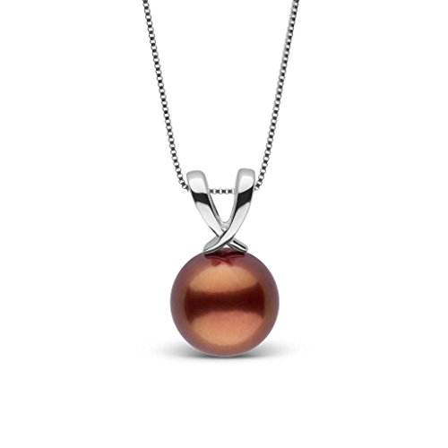 Ribbon Collection Chocolate Tahitian Cultured Pearl Pendant - White Gold - 16 Inch (Tahitian Necklace Chocolate Pearl)