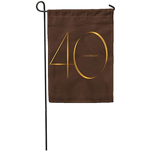 "Seasonal Garden Flags 12"" x 18"" Handwriting Celebrating Anniversary of Number 40Th Year Luxury Duo Outdoor Decorative House Yard Flag"