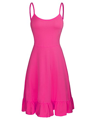 OUGES Women's Adjustable Spaghetti Strap Sleeveless Summer Beach Slip Dress(Rose,XL)