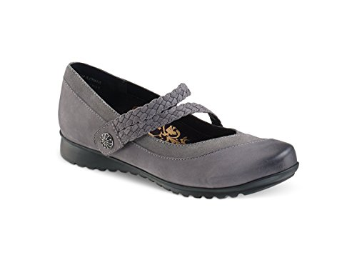 Ada Braided Mary Jane GUNMETAL W39 (Aetrex Leather Mary Janes)
