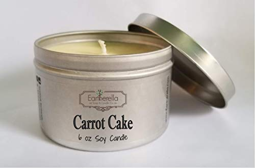 (CARROT CAKE Natural Soy Wax 6 oz. Tin Candle, long 40+ hour burn time, sweet)