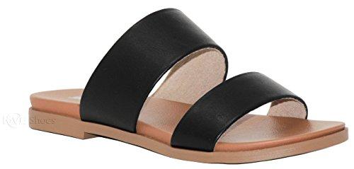 MVE Shoes Women's Strappy Flats Summer Shoes - Faux Leather Slip On Sandals - Criss Cross Slide Sandal Black Pu*s