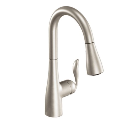 1 Handle Kitchen Escutcheon (Moen 7594SRS Arbor One-Handle High Arc Pulldown Kitchen Faucet Featuring Reflex, Spot Resist)