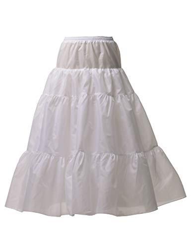 - Remedios Long A Line Bridal Petticoat Underskirt Crinoline Half Slip,White,L-XL