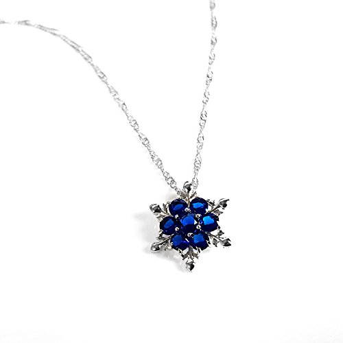 Women Girls Frozen Snowflake Crystal Pendant Necklace Cobalt Blue Pendant for Gift - http://coolthings.us