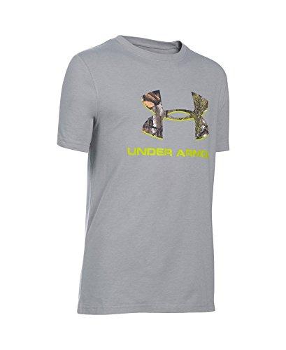 Under Armour Boys' Camo Fill Big Logo Short Sleeve T-Shirt, True Gray Heather/Velocity, Youth Medium