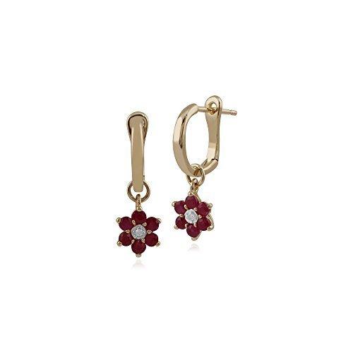 Gemondo Bague Boucles d'oreilles rubis, 0,5carat or jaune 9ct rubis & Diamant-Boucles d'Oreilles Pendantes Femme-Motif floral