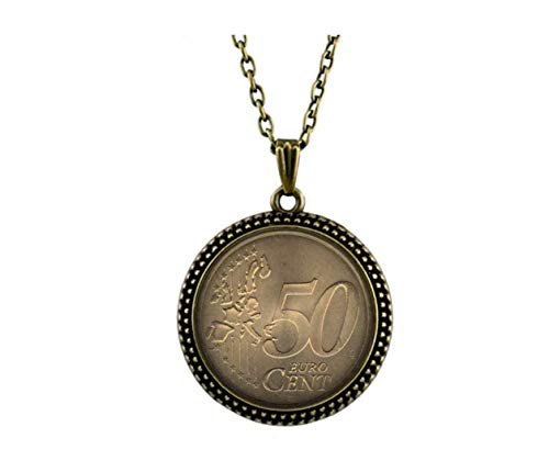 Fashion flowers 50 Euro Cent 1999 Front Coin Necklace, Creative Coin Pendant, Gift for Coin Collectors (Euro 50 Cent Coin)